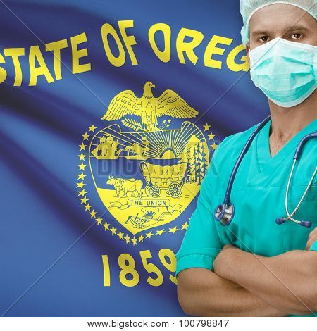 Surgeon with USA states flags on background - Oregon poster