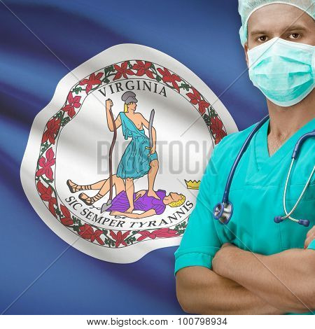 Surgeon With Us States Flags On Background Series - Virginia