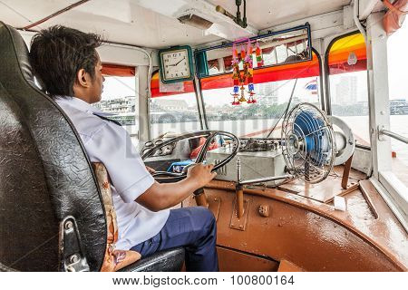 Capitain Of Ferrry Boat In Bangkok, Thailand
