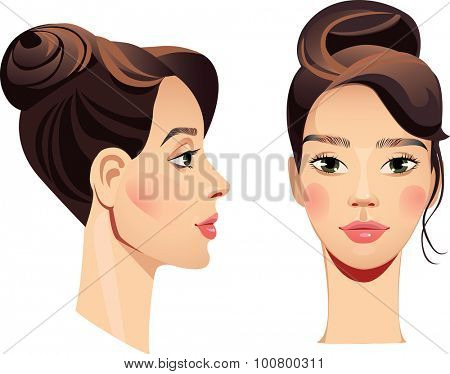 face girl in straight and profile
