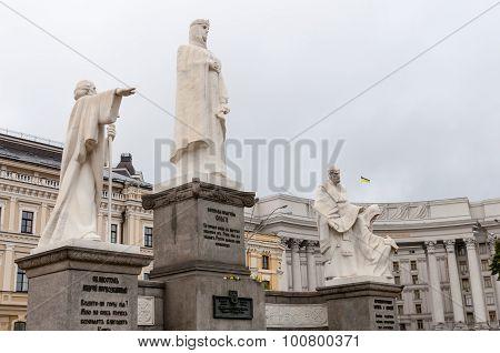 KIEV, UKRAINE - SEPTEMBER 06, 2015: Monument to Princess Olga, St. Apostle Andrew the first-called a