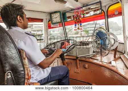 Capitain Of Ferrry Boat In Bangkok, Thailand