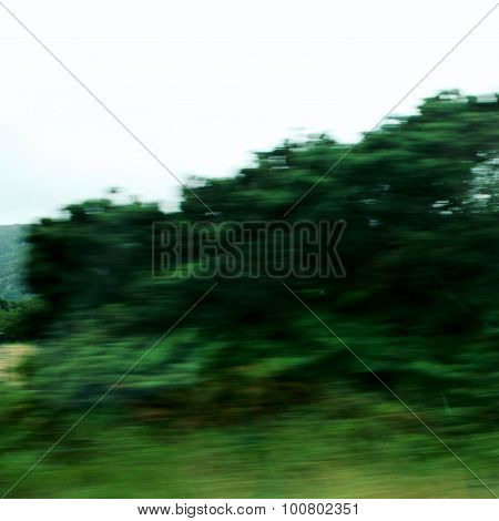 Blurred Action From Car At High Speed. Aged Photo.