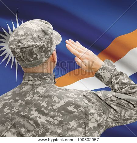 Soldier In Hat Facing National Flag Series - Marshall Islands