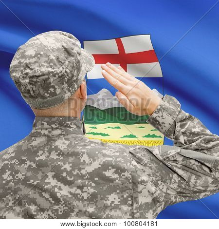 Soldier Saluting To Canadial Province Flag Series - Alberta