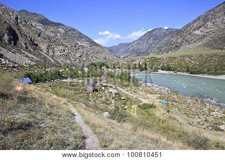 Recreational Cour Kechu at the confluence of mountain rivers Big Ilgumen and Katun.