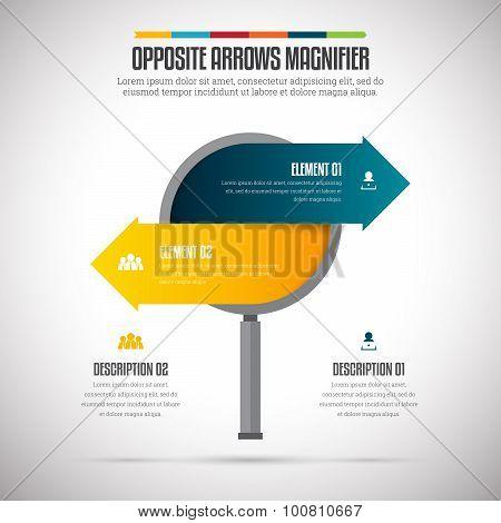 Opposite Arrows Magnifier Infographic