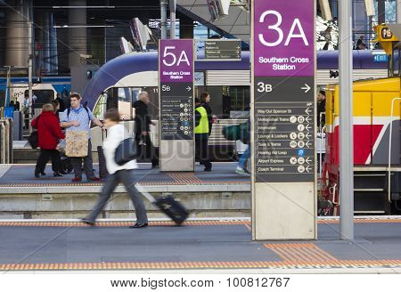 Passengers In The Southern Cross Train Station's Platform In Melbourne, Australia