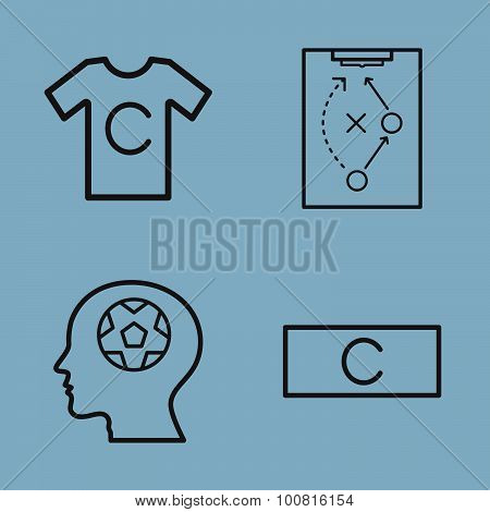 soccer line icon set vector illustration. captain player strategy head and armband poster