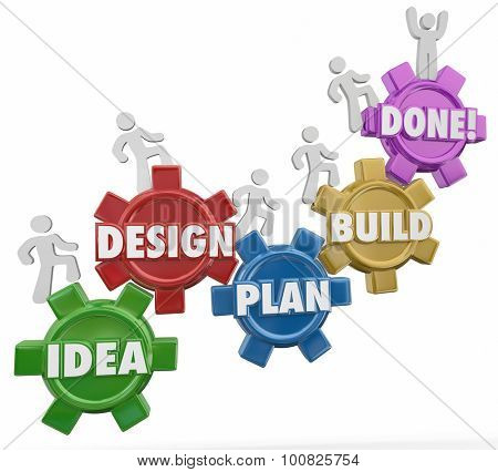 Idea, Design, Plan, Build and Done words on gears with workers climbing up the steps or instructions to complete a project, job, task or work objective