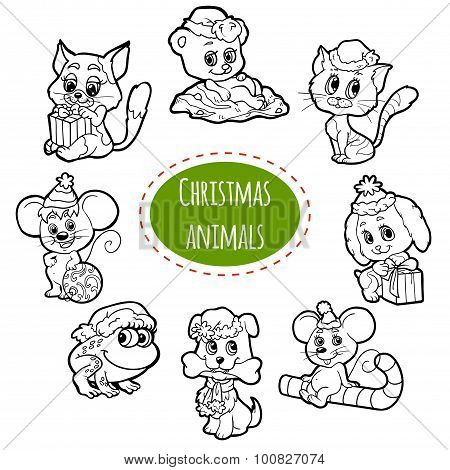 Vector Colorless Set Of Christmas Cute Animals, Cartoon Collection, Coloring Page With Little Animal