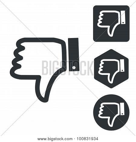 Dislike icon set, monochrome, isolated on white poster
