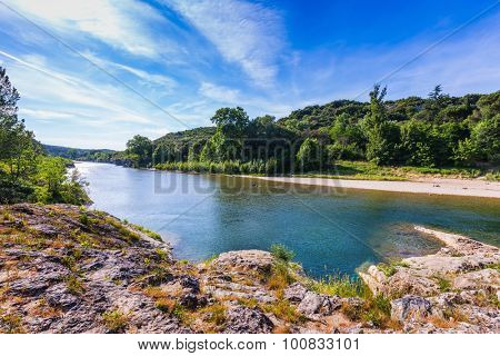 Gardon River and the beautiful park on its banks. Provence, spring sunny day poster