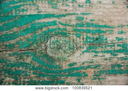 Wood texture, wood background and foundation.Wooden Board with peeled green paint.