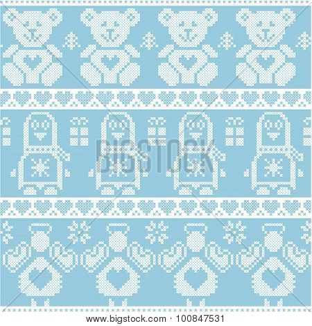 Blue Scandinavian vintage Christmas  Nordic seamless pattern with penguin, angel, teddy bear, Xmas gifts, hearts, decorative ornaments, Christmas trees in red cross stitch poster