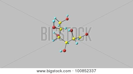 Mannose is a sugar monomer of the aldohexose series of carbohydrates. Mannose is important in human metabolism, especially in the glycosylation of certain proteins. 3d illustration.