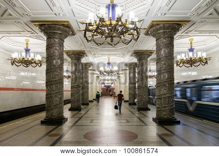 ST. PETERSBURG, RUSSIA - JUNE 22, 2015: Avtovo metro station. In 2014, according to Guardian, station Avtovo got list of 12 most beautiful stations in the world