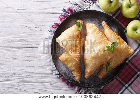 Homemade Apple Pie Turnover On A Plate. Horizontal Top View