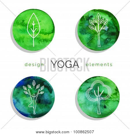 Set of linear yoga icons in green colors.