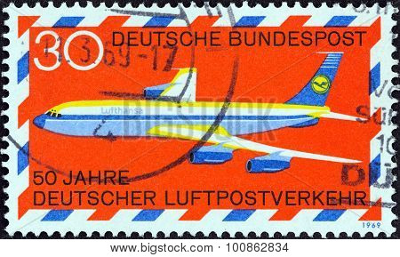 GERMANY - CIRCA 1969: A stamp printed in Germany shows Boeing 707 airliner