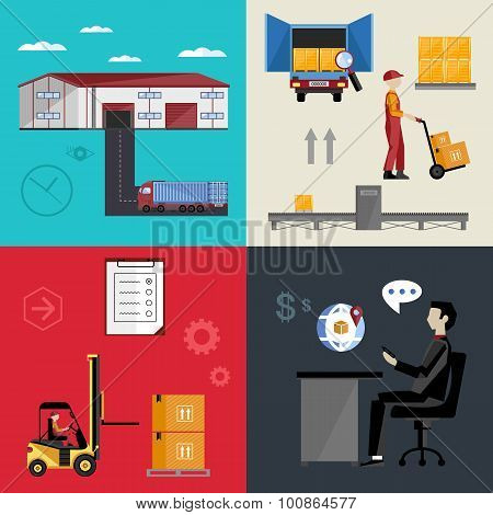 Logistic infogrpaphics vector icon. Warehouse and logistic process. Logistic transport. Delivery service vector icon. Cargo delivery icon. Logistic technology. Warehouse process. Logistic concept. Logistic management. Logistic warehouse. Logistic service.