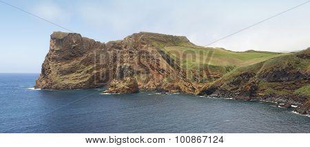 Azores Coastline In Sao Jorge Island. Baia Entre Morros. Portugal