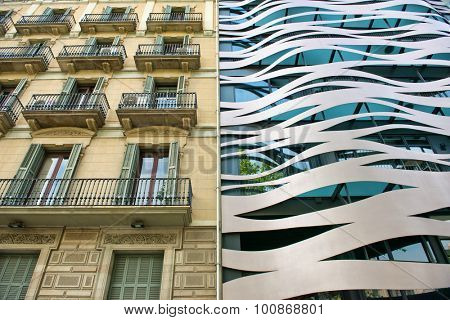 BARCELONA, SPAIN - MAY 02: Architectural Detail of Old and New Neighboring Buildings Located on Passeig de Gracia, Barcelona, Spain. May 02, 2015.