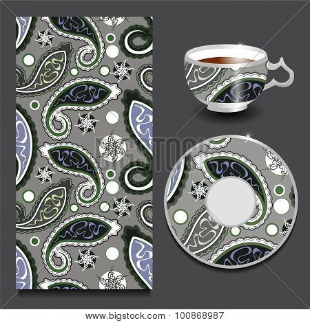 Vector Seamless Floral Paisley Pattern With Cup And Plate. Stock