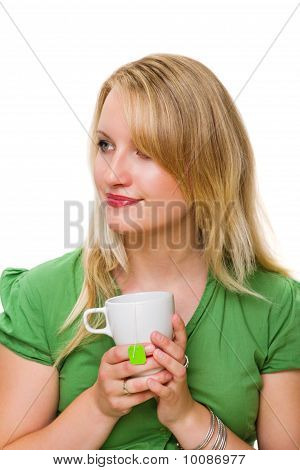 Young Woman With A Cup Of Tea, Day Dreaming