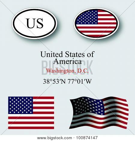 United States Of America Icons Set