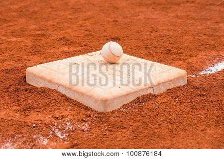 Baseball On A Base Of Baseball Field