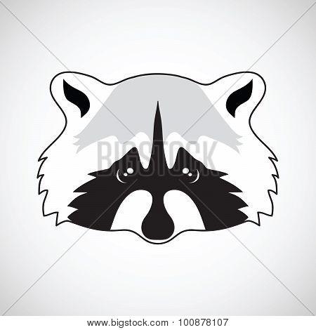 Cute raccoon face. Vector illustration.
