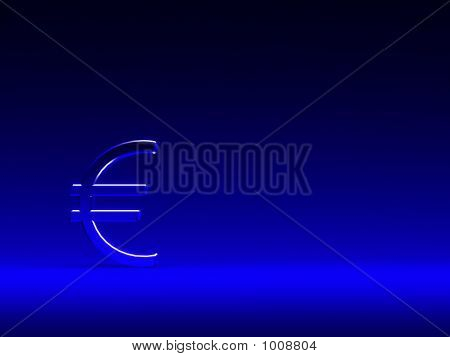 Euro Sign On Blue Background