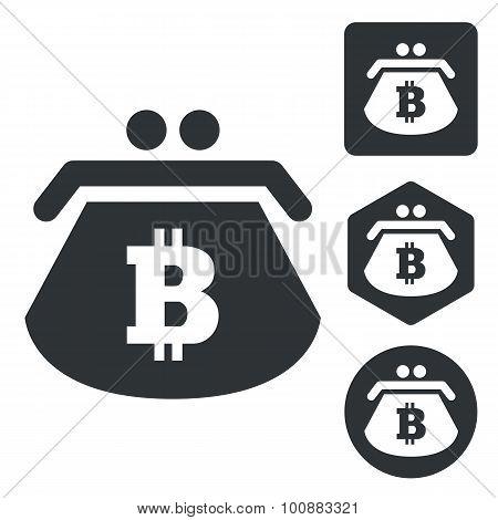 Bitcoin purse icon set, monochrome, isolated on white poster