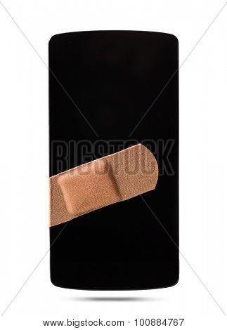 modern smartphone healed with bandaid, isolated on white background