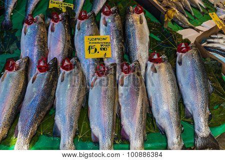 Sea Fish On Counter At Market