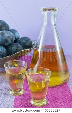 Plum Schnapps And Fresh Plums
