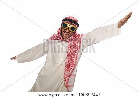 Arab man wearing aviator glasses isolated on white