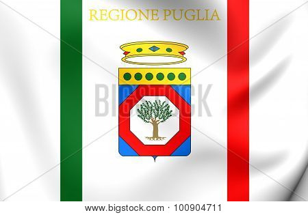 3D Flag of Apulia Region Italy. Close Up. poster