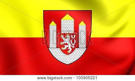 3D Flag of Ceske Budejovice City (South Bohemian Region) Czech Republic. poster