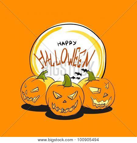 Happy Halloween Poster with pumpkins