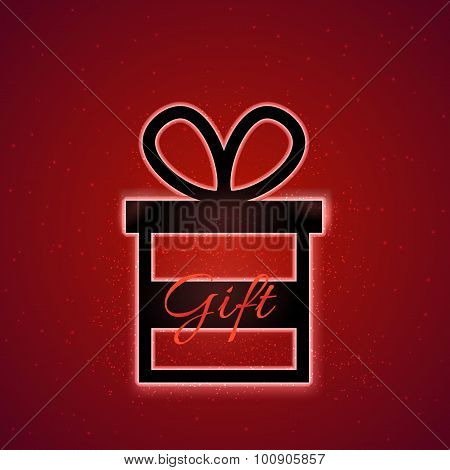 Vector gift box with magic sparkle and caption Gift on red background
