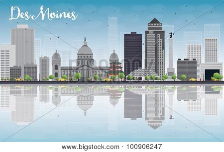 Des Moines Skyline with Grey Buildings, Blue Sky and reflections