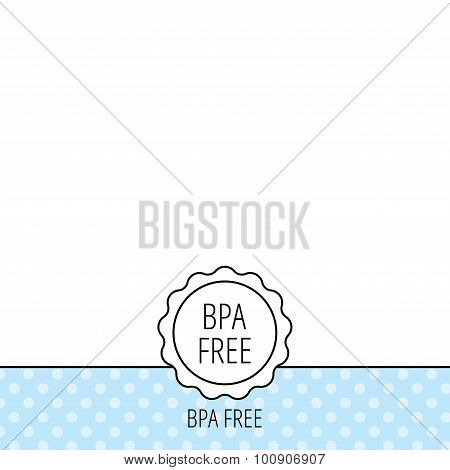 BPA free icon. Bisphenol plastic sign. Circles seamless pattern. Background with icon. Vector poster
