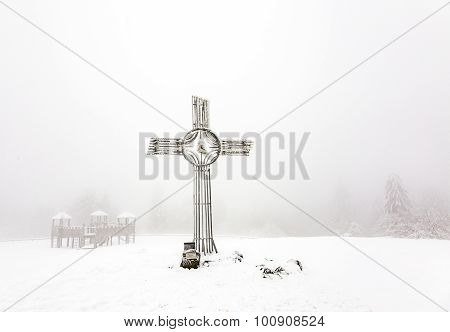 Summit Cross In Snow At Feldberg