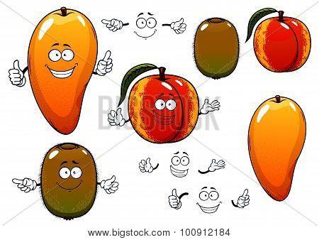 Fresh sweet mango, peach and kiwi fruits