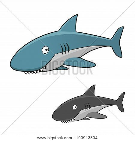 Cartoon toothy gray shark character