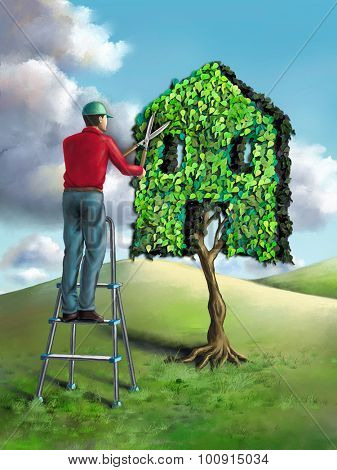 Gardener shaping a small tree as an house. Digital illustration.