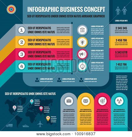 Business infographic concept layout in flat design style for presentation, booklet, website etc.