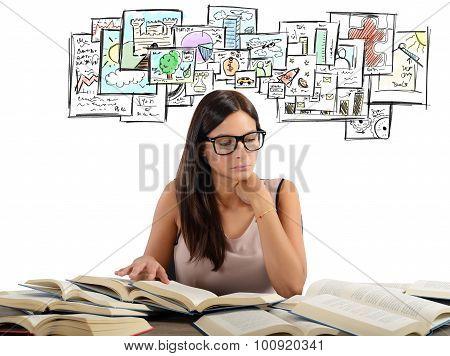 Girl studying academic subjects